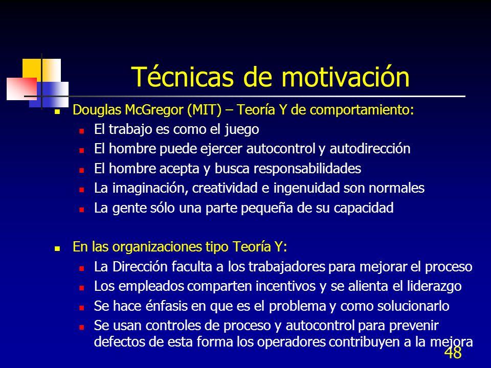 48 Técnicas de motivación Douglas McGregor (MIT) – Teoría Y de comportamiento: El trabajo es como el juego El hombre puede ejercer autocontrol y autod