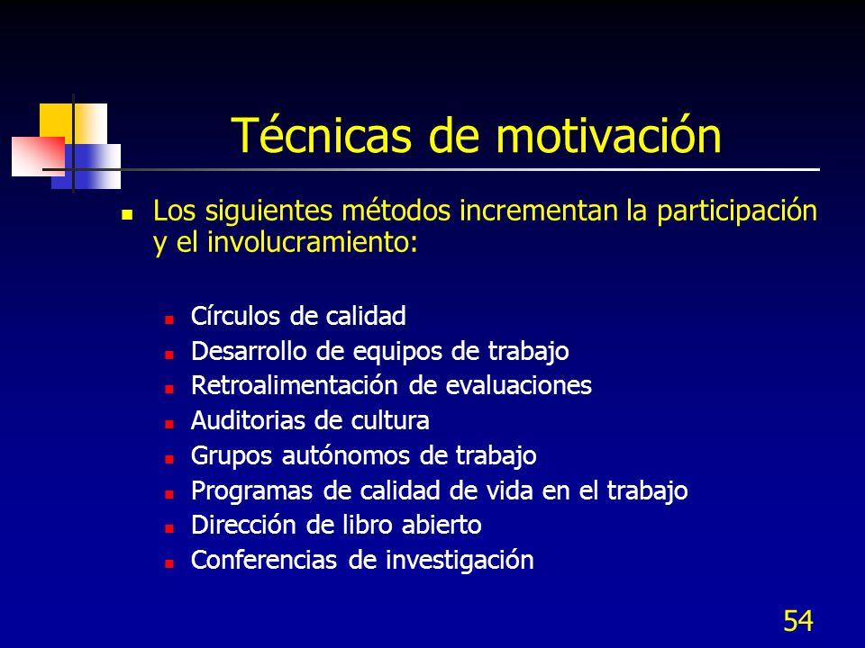 54 Técnicas de motivación Los siguientes métodos incrementan la participación y el involucramiento: Círculos de calidad Desarrollo de equipos de traba