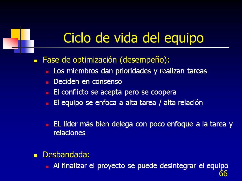66 Ciclo de vida del equipo Fase de optimización (desempeño): Los miembros dan prioridades y realizan tareas Deciden en consenso El conflicto se acept