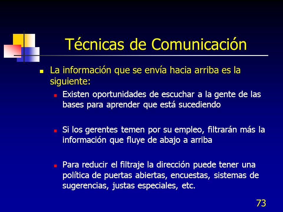 73 Técnicas de Comunicación La información que se envía hacia arriba es la siguiente: Existen oportunidades de escuchar a la gente de las bases para a