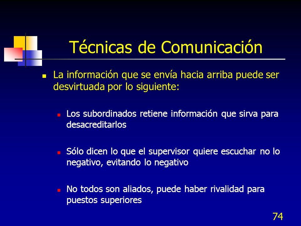 74 Técnicas de Comunicación La información que se envía hacia arriba puede ser desvirtuada por lo siguiente: Los subordinados retiene información que