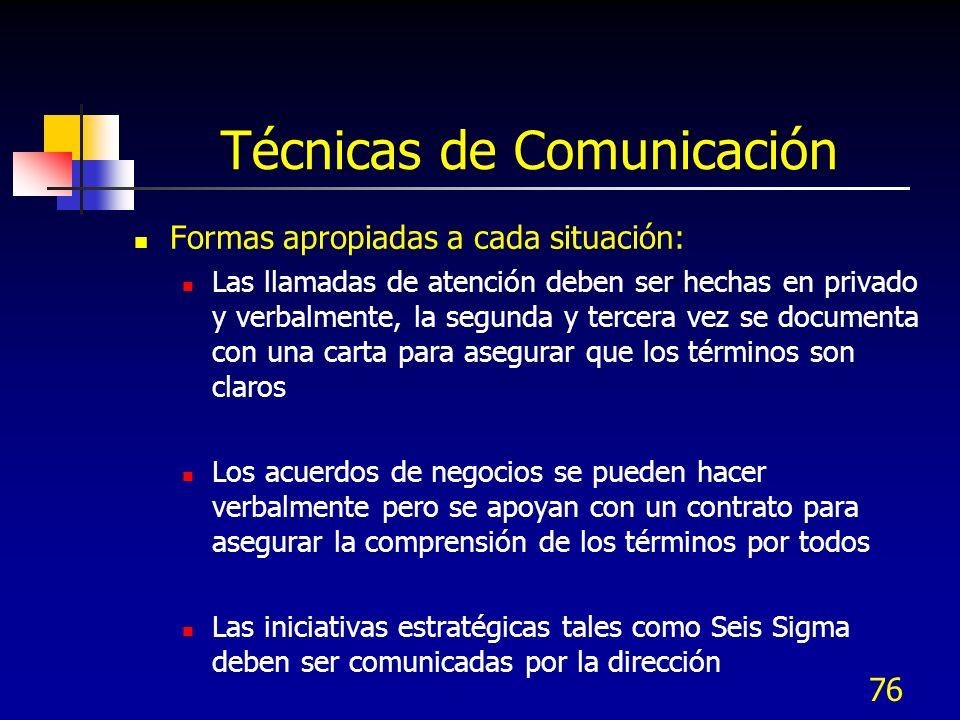 76 Técnicas de Comunicación Formas apropiadas a cada situación: Las llamadas de atención deben ser hechas en privado y verbalmente, la segunda y terce