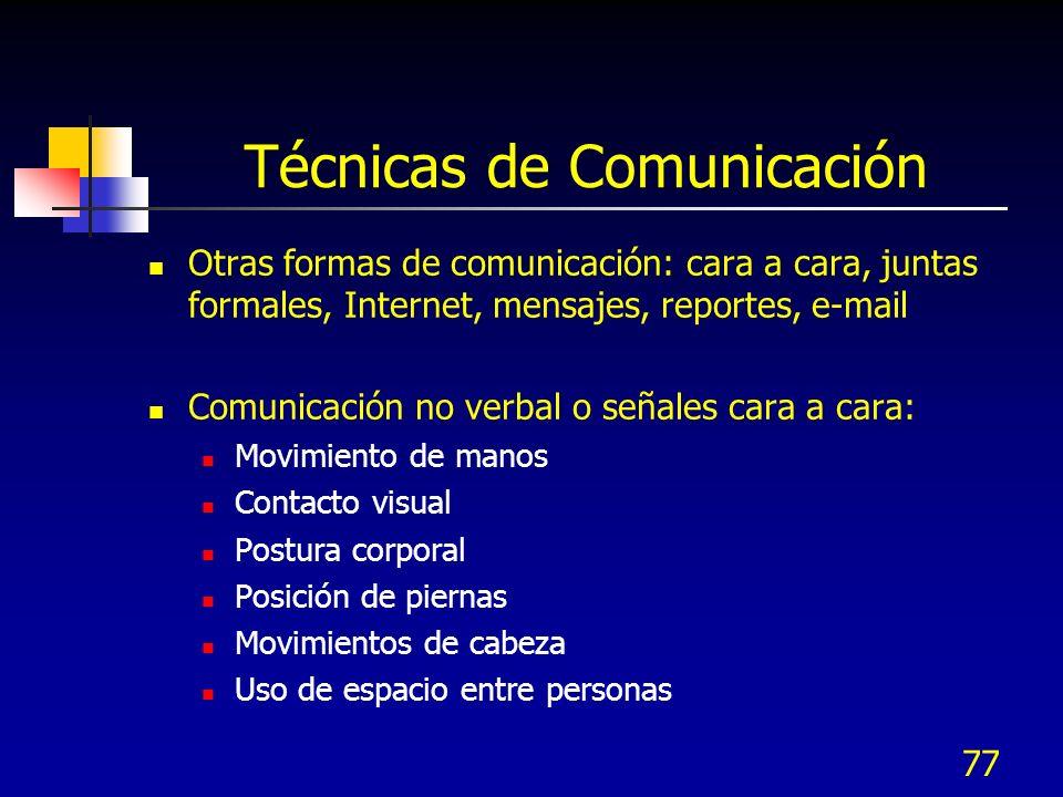 77 Técnicas de Comunicación Otras formas de comunicación: cara a cara, juntas formales, Internet, mensajes, reportes, e-mail Comunicación no verbal o