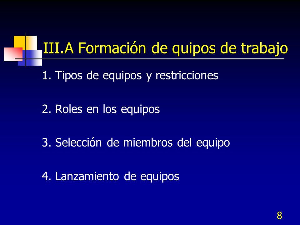 8 III.A Formación de quipos de trabajo 1. Tipos de equipos y restricciones 2. Roles en los equipos 3. Selección de miembros del equipo 4. Lanzamiento