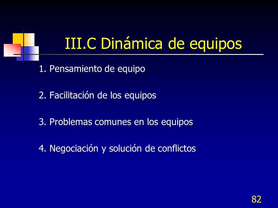 1. Pensamiento de equipo 2. Facilitación de los equipos 3. Problemas comunes en los equipos 4. Negociación y solución de conflictos 82