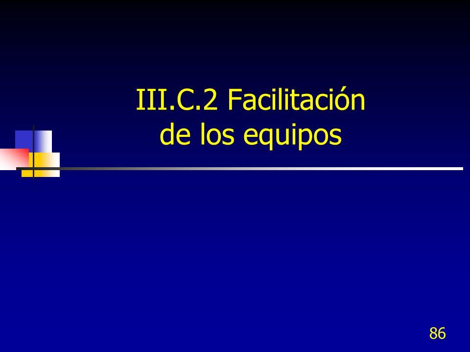 III.C.2 Facilitación de los equipos 86