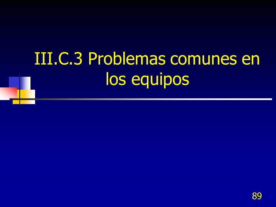 III.C.3 Problemas comunes en los equipos 89