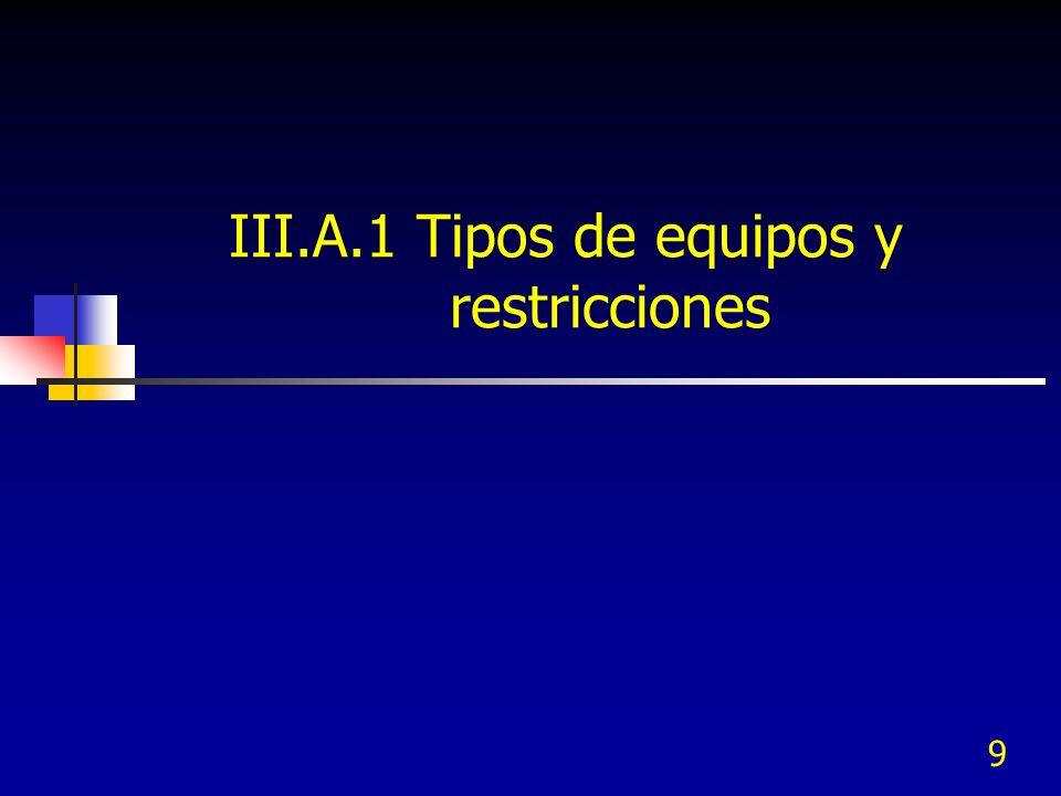 9 III.A.1 Tipos de equipos y restricciones