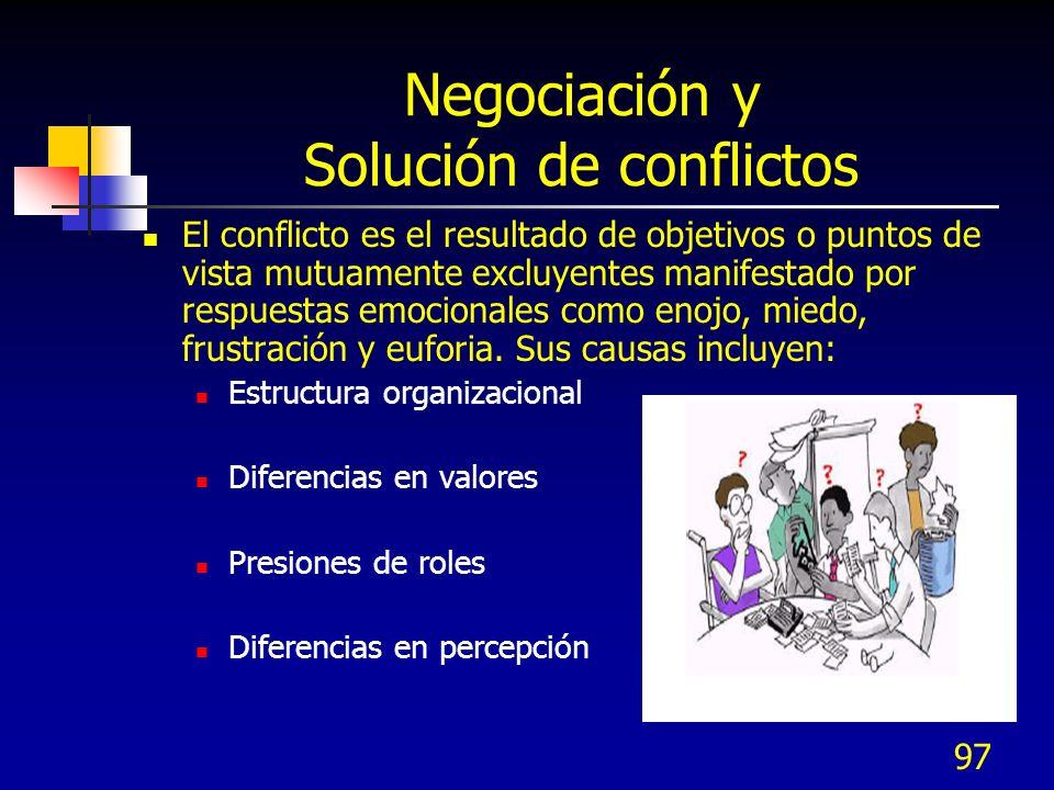 97 Negociación y Solución de conflictos El conflicto es el resultado de objetivos o puntos de vista mutuamente excluyentes manifestado por respuestas