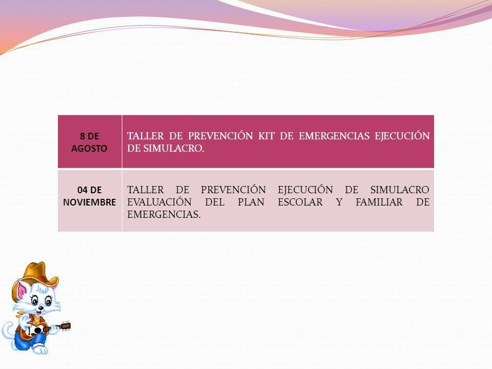 8 DE AGOSTO TALLER DE PREVENCIÓN KIT DE EMERGENCIAS EJECUCIÓN DE SIMULACRO. 04 DE NOVIEMBRE TALLER DE PREVENCIÓN EJECUCIÓN DE SIMULACRO EVALUACIÓN DEL