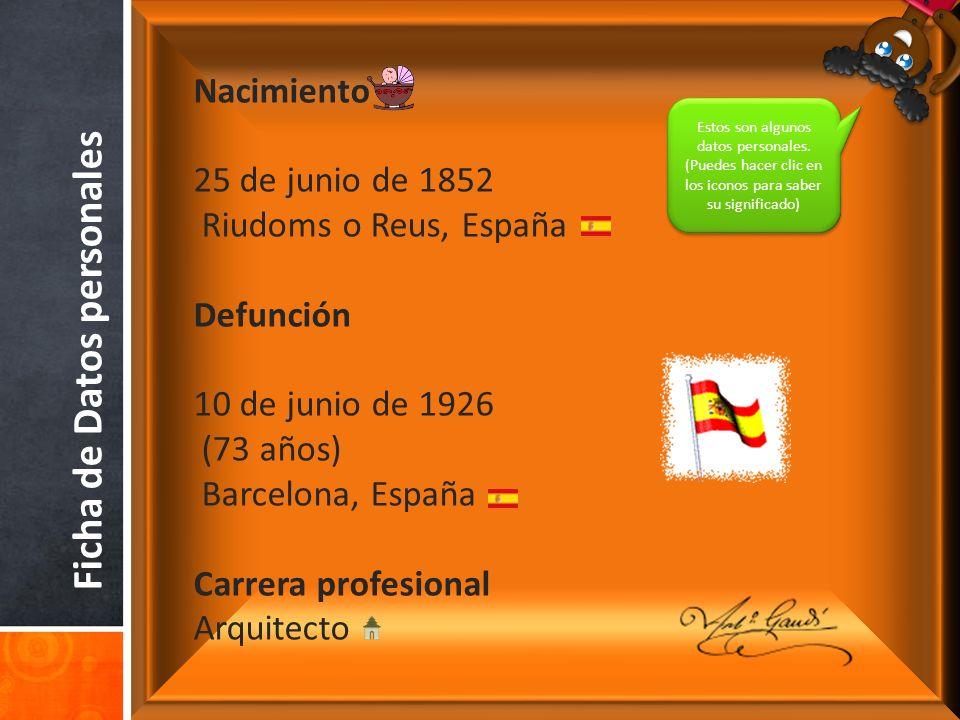 Ficha de Datos personales Nacimiento 25 de junio de 1852 Riudoms o Reus, España Defunción 10 de junio de 1926 (73 años) Barcelona, España Carrera profesional Arquitecto Estos son algunos datos personales.