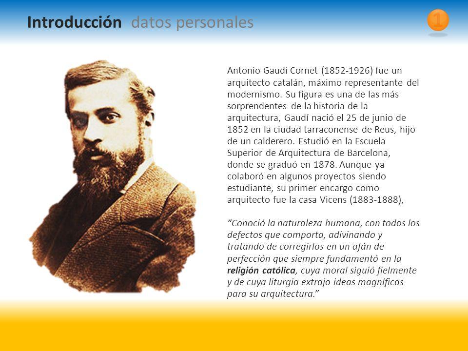 Antonio Gaudí Cornet (1852-1926) fue un arquitecto catalán, máximo representante del modernismo.