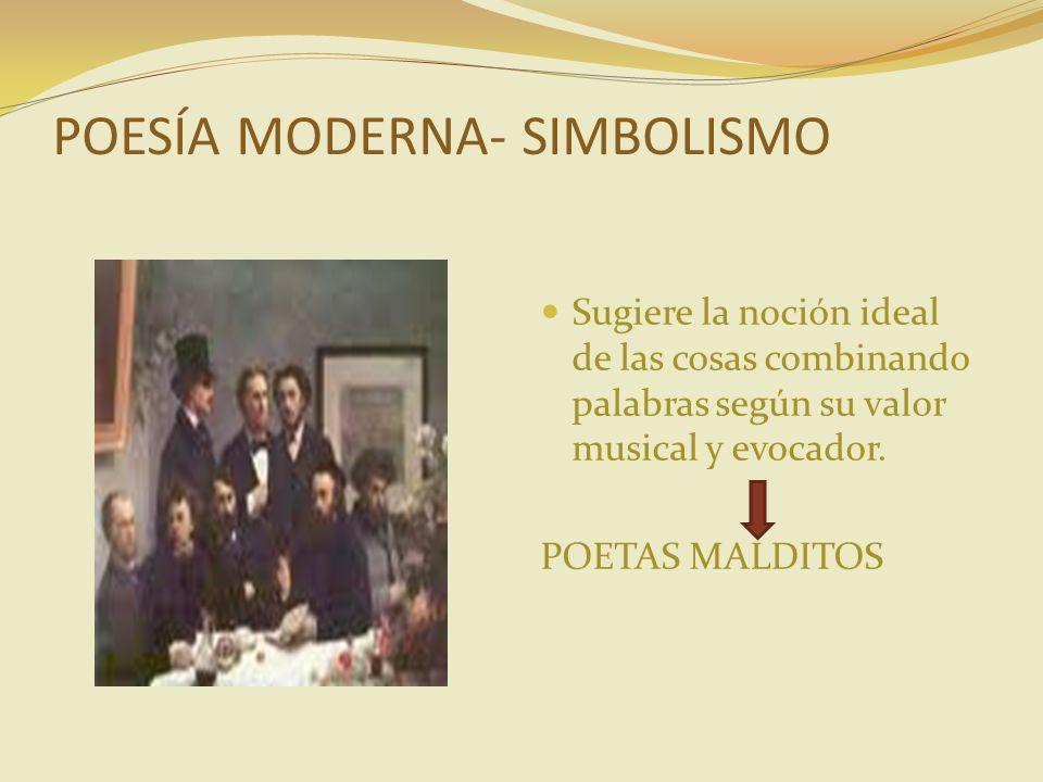 POESÍA MODERNA- SIMBOLISMO Sugiere la noción ideal de las cosas combinando palabras según su valor musical y evocador. POETAS MALDITOS