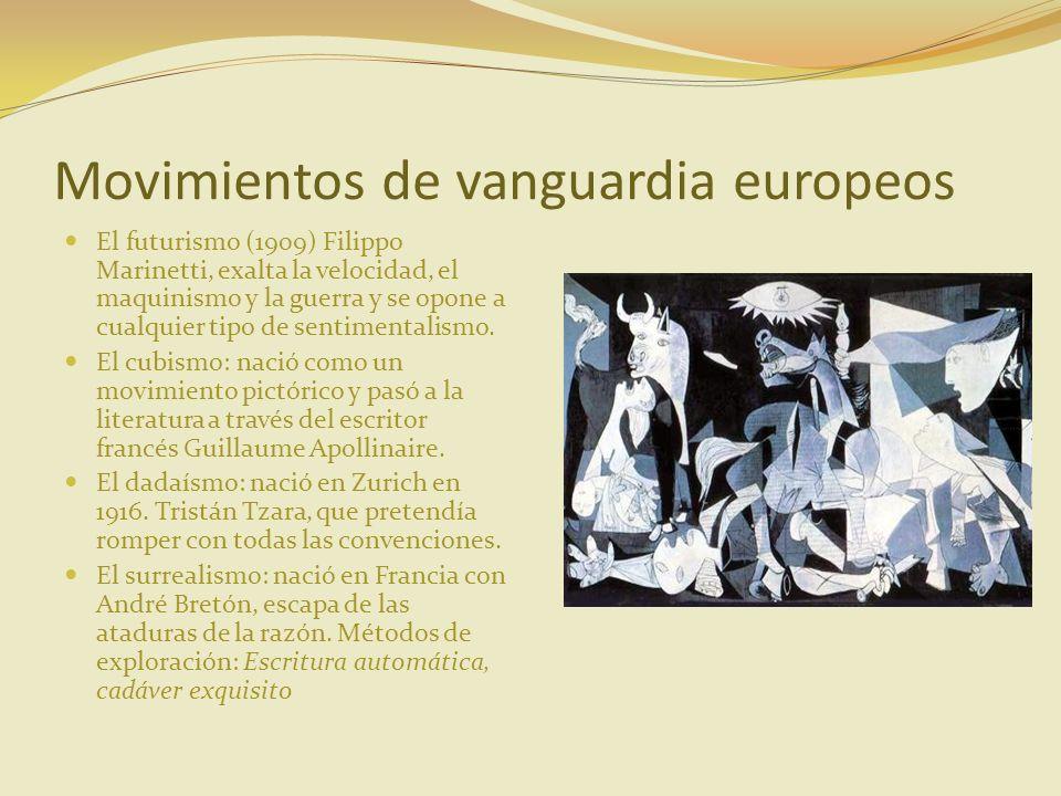 Movimientos de vanguardia europeos El futurismo (1909) Filippo Marinetti, exalta la velocidad, el maquinismo y la guerra y se opone a cualquier tipo d