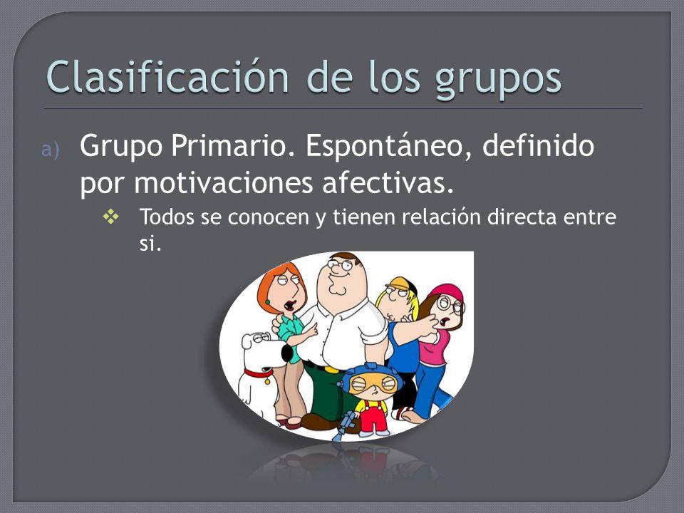 a) Grupo Primario. Espontáneo, definido por motivaciones afectivas. Todos se conocen y tienen relación directa entre si.