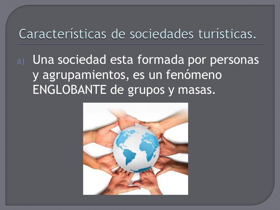 a) Una sociedad esta formada por personas y agrupamientos, es un fenómeno ENGLOBANTE de grupos y masas.