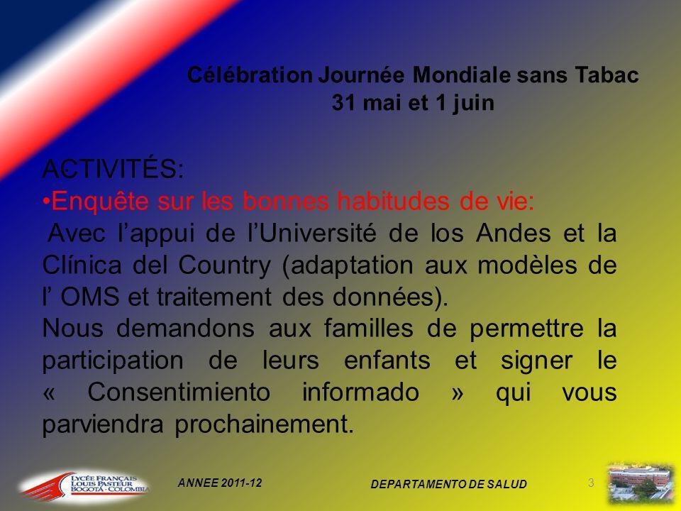 ANNEE 2011-12 DEPARTAMENTO DE SALUD 3 Célébration Journée Mondiale sans Tabac 31 mai et 1 juin.