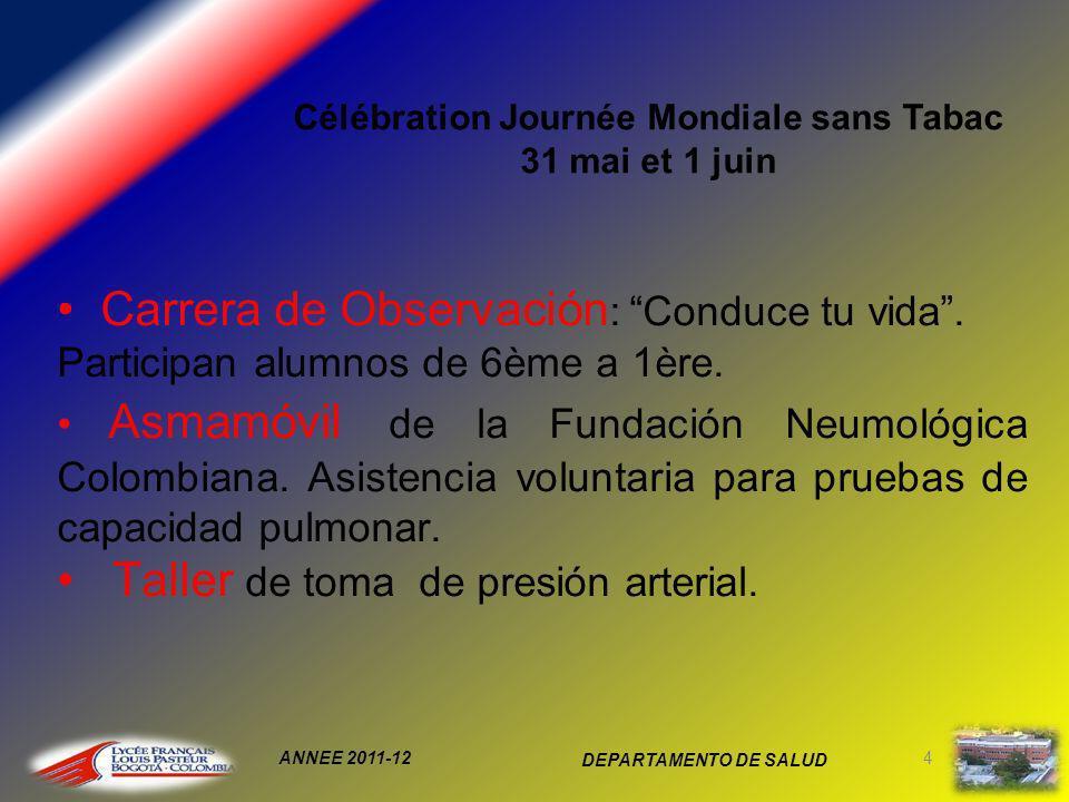 ANNEE 2011-12 DEPARTAMENTO DE SALUD 4 Célébration Journée Mondiale sans Tabac 31 mai et 1 juin Carrera de Observación : Conduce tu vida.