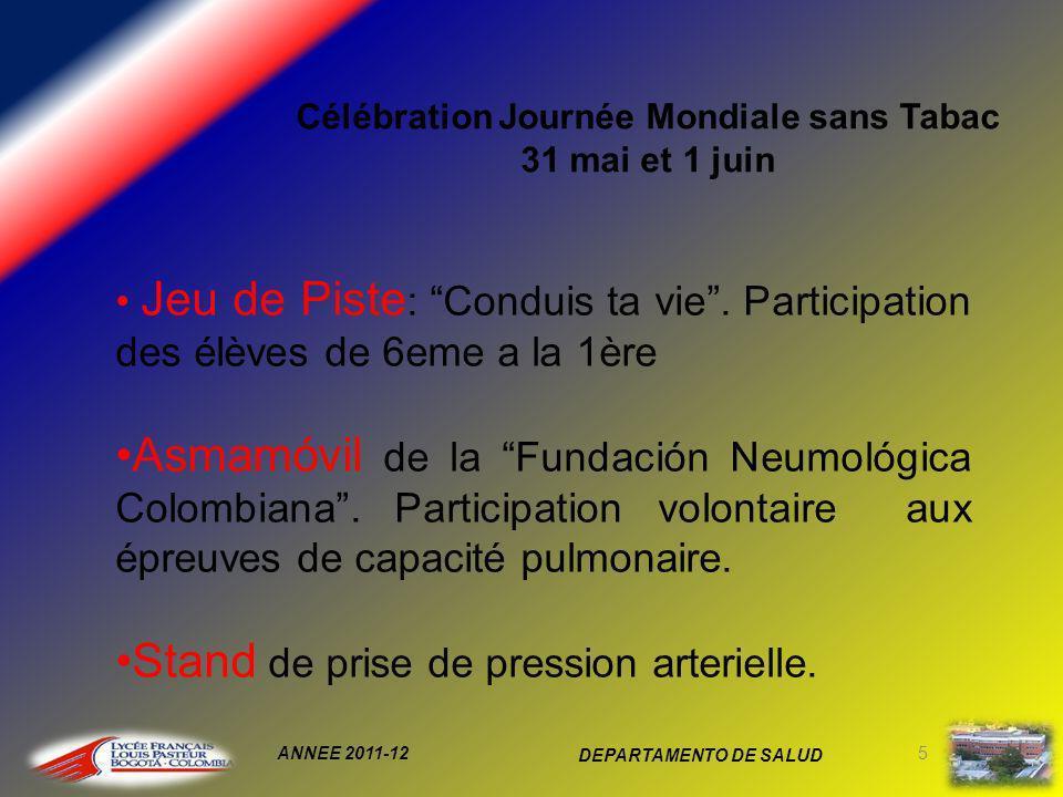 ANNEE 2011-12 DEPARTAMENTO DE SALUD 5 Jeu de Piste : Conduis ta vie.