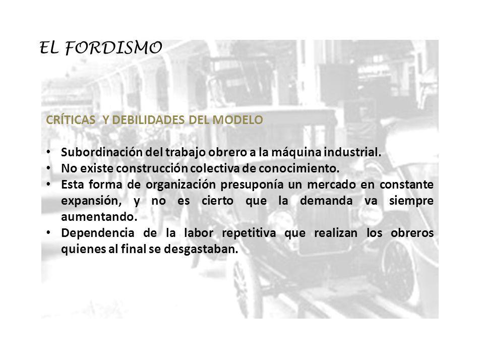 EL FORDISMO CRÍTICAS Y DEBILIDADES DEL MODELO Subordinación del trabajo obrero a la máquina industrial. No existe construcción colectiva de conocimien