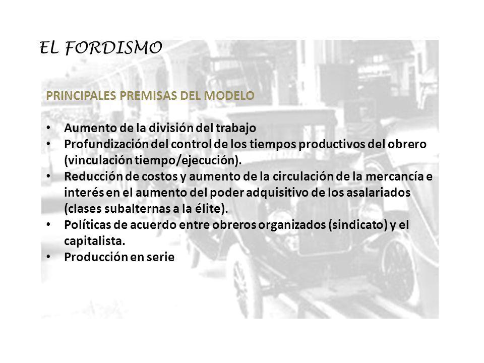 EL FORDISMO PRINCIPALES PREMISAS DEL MODELO Aumento de la división del trabajo Profundización del control de los tiempos productivos del obrero (vincu