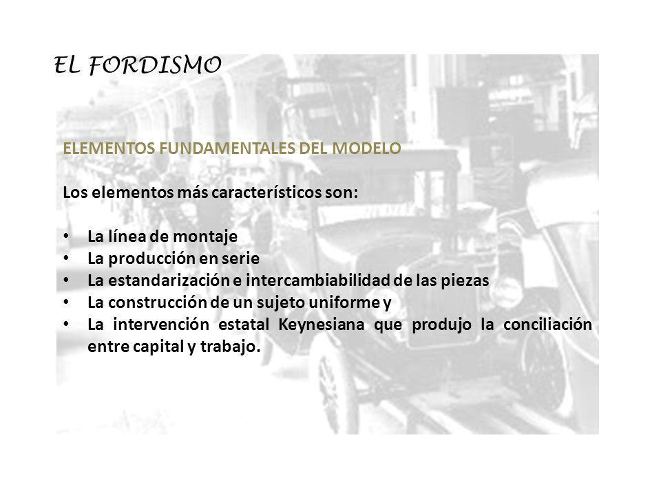 EL FORDISMO ELEMENTOS FUNDAMENTALES DEL MODELO Los elementos más característicos son: La línea de montaje La producción en serie La estandarización e