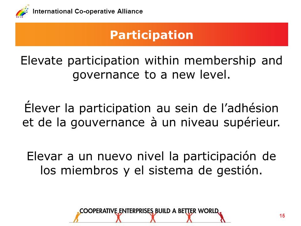 International Co-operative Alliance Participation Elevate participation within membership and governance to a new level. Élever la participation au se