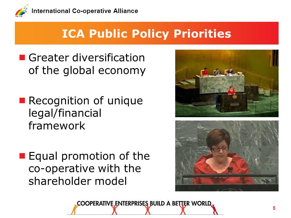 ICA Public Policy Priorities Greater diversification of the global economy Recognition of unique legal/financial framework Equal promotion of the co-o