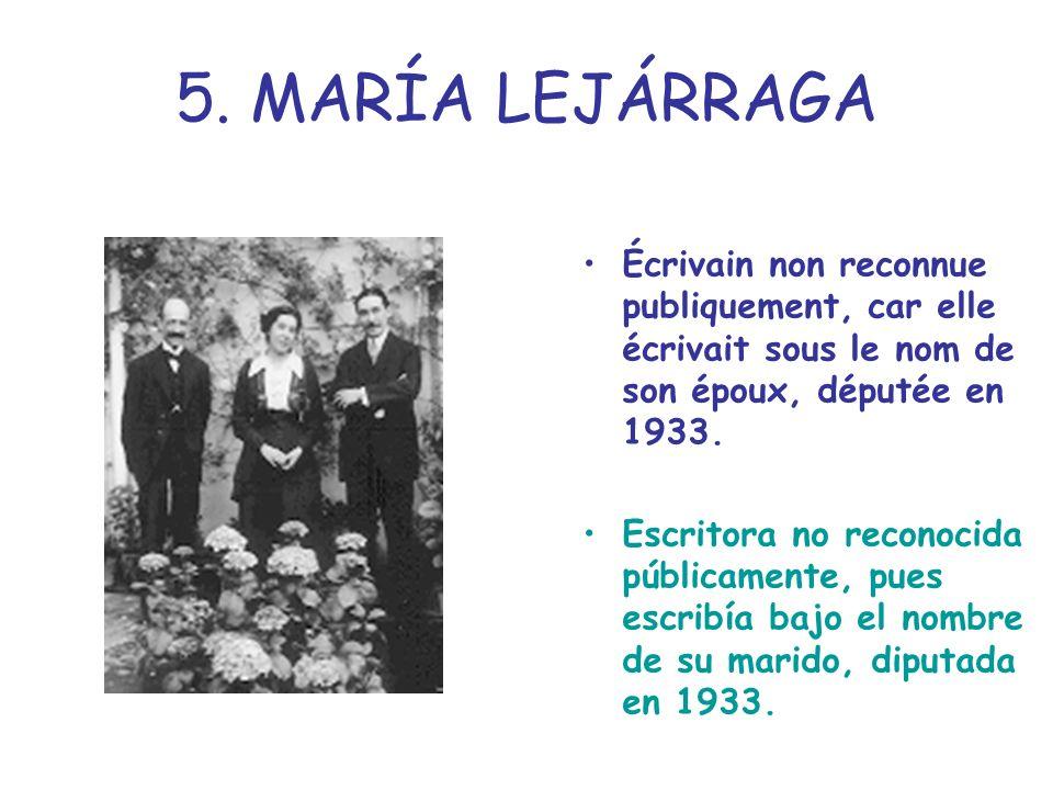 5. MARÍA LEJÁRRAGA Écrivain non reconnue publiquement, car elle écrivait sous le nom de son époux, députée en 1933. Escritora no reconocida públicamen