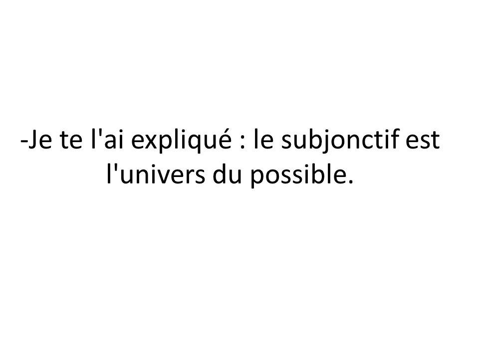 -(Ya) te lo he explicado (/te lo expliqué) : el subjuntivo es el universo de lo posible.