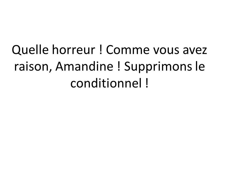 Quelle horreur ! Comme vous avez raison, Amandine ! Supprimons le conditionnel !