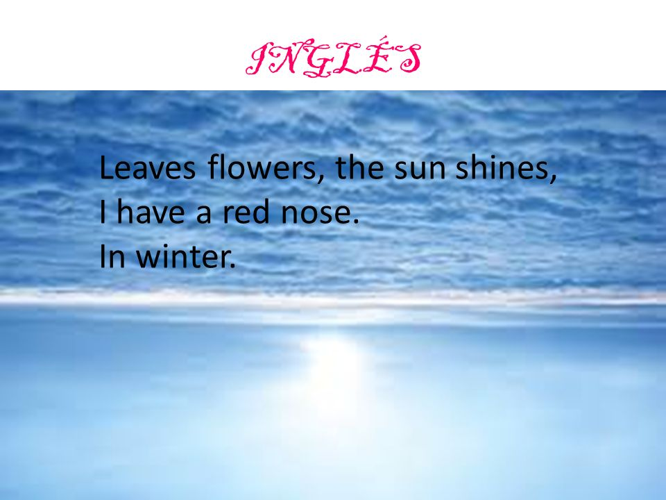 Leaves flowers, the sun shines, I have a red nose. It`s winter.