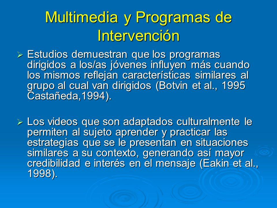 Multimedia y Programas de Intervención Estudios demuestran que los programas dirigidos a los/as jóvenes influyen más cuando los mismos reflejan características similares al grupo al cual van dirigidos (Botvin et al., 1995 Castañeda,1994).