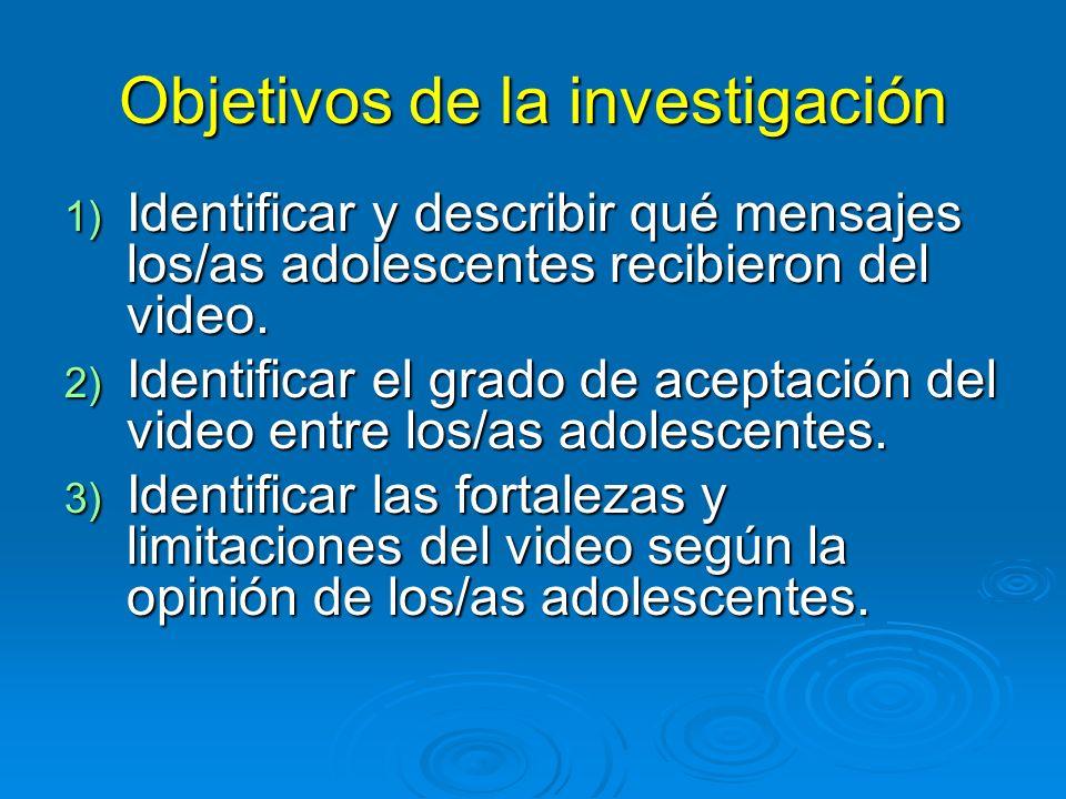 Objetivos de la investigación 1) Identificar y describir qué mensajes los/as adolescentes recibieron del video.