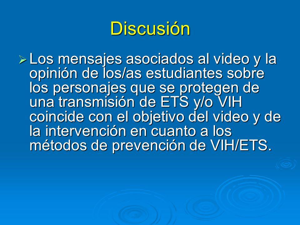 Discusión Los mensajes asociados al video y la opinión de los/as estudiantes sobre los personajes que se protegen de una transmisión de ETS y/o VIH coincide con el objetivo del video y de la intervención en cuanto a los métodos de prevención de VIH/ETS.