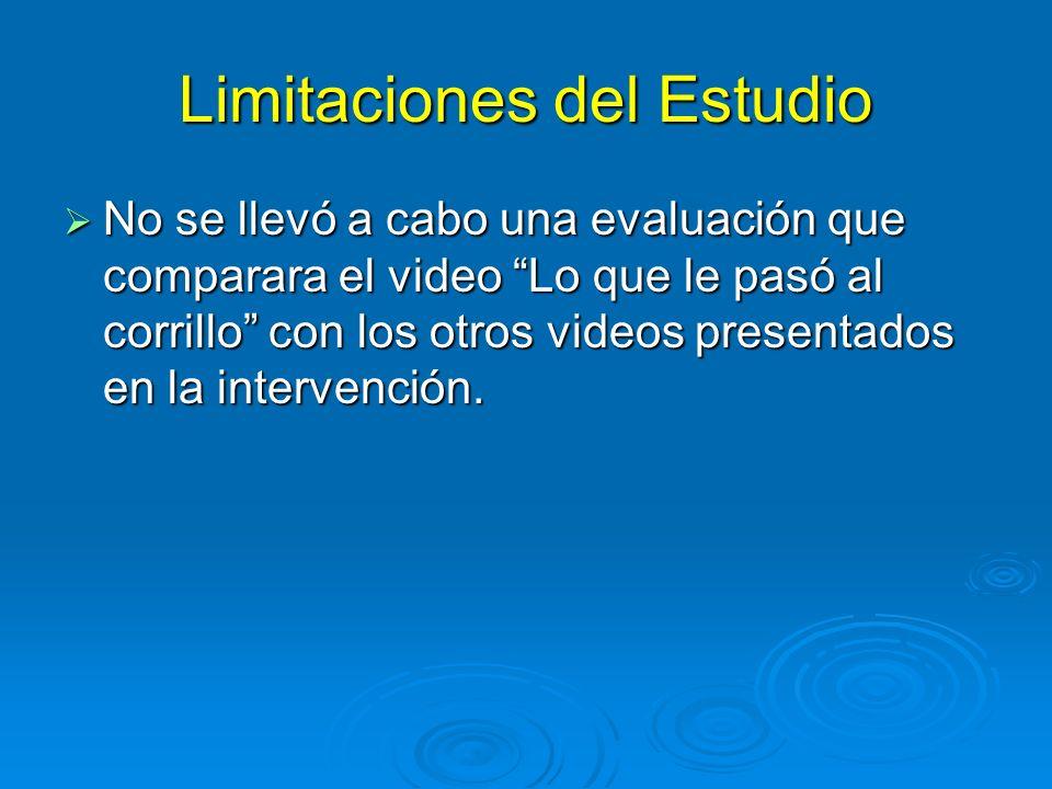 Limitaciones del Estudio No se llevó a cabo una evaluación que comparara el video Lo que le pasó al corrillo con los otros videos presentados en la intervención.