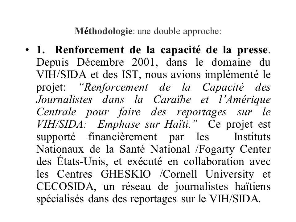 Méthodologie: une double approche: 1.Renforcement de la capacité de la presse.