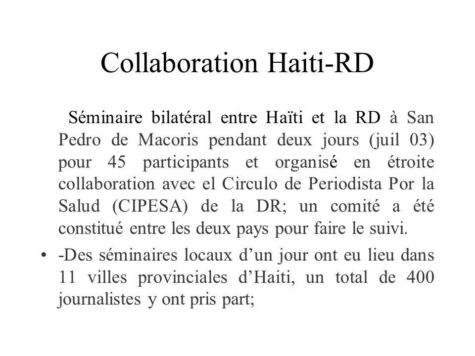 Collaboration Haiti-RD Séminaire bilatéral entre Haïti et la RD à San Pedro de Macoris pendant deux jours (juil 03) pour 45 participants et organisé en étroite collaboration avec el Circulo de Periodista Por la Salud (CIPESA) de la DR; un comité a été constitué entre les deux pays pour faire le suivi.