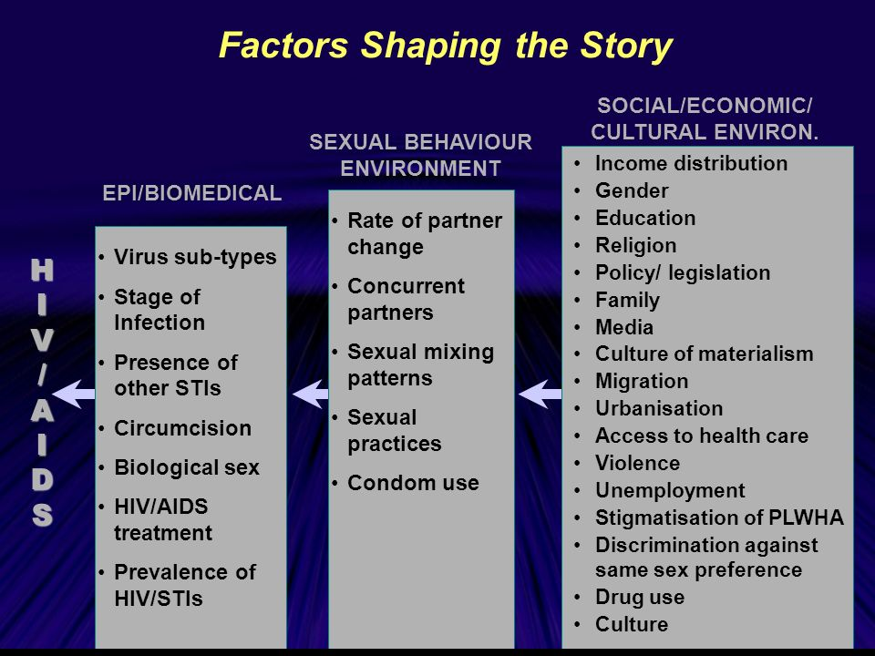 Factors Shaping the Story Income distribution Gender Education Religion Policy/ legislation Family Media Culture of materialism Migration Urbanisation Access to health care Violence Unemployment Stigmatisation of PLWHA Discrimination against same sex preference Drug use Culture SOCIAL/ECONOMIC/ CULTURAL ENVIRON.