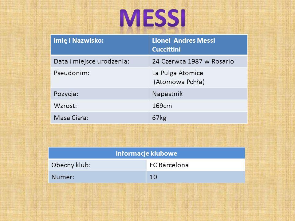Imię i Nazwisko:Lionel Andres Messi Cuccittini Data i miejsce urodzenia:24 Czerwca 1987 w Rosario Pseudonim:La Pulga Atomica (Atomowa Pchła) Pozycja:Napastnik Wzrost:169cm Masa Ciała:67kg Informacje klubowe Obecny klub:FC Barcelona Numer:10