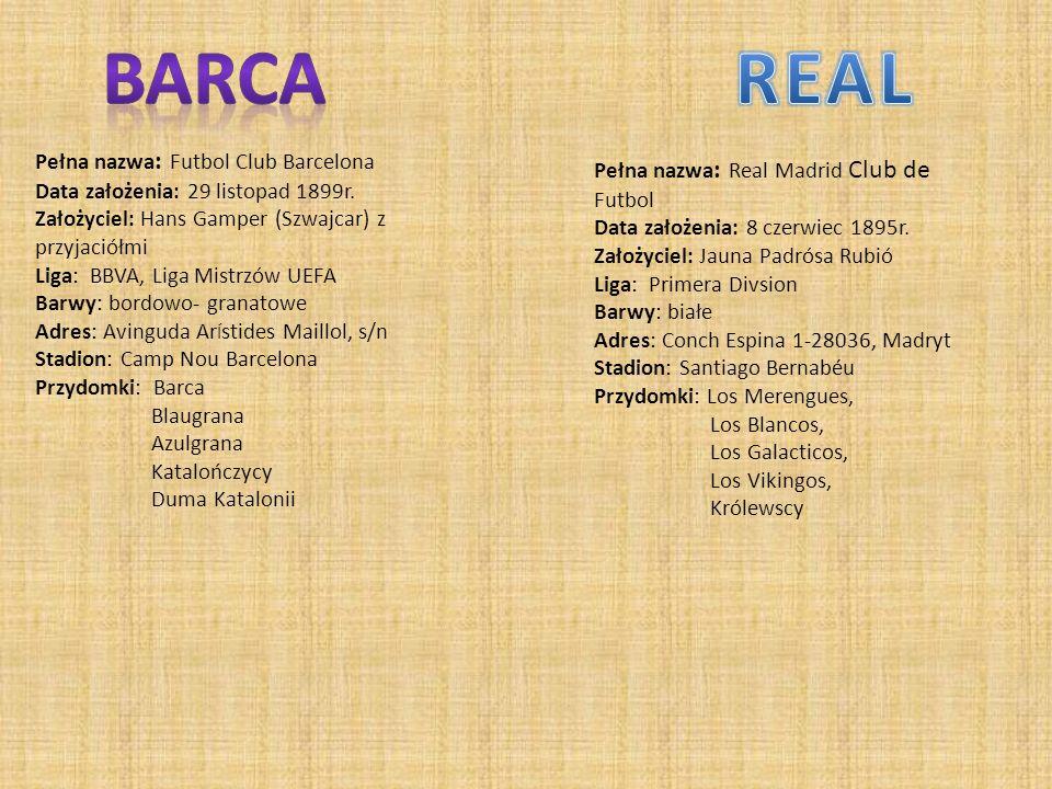 Pełna nazwa : Futbol Club Barcelona Data założenia: 29 listopad 1899r.