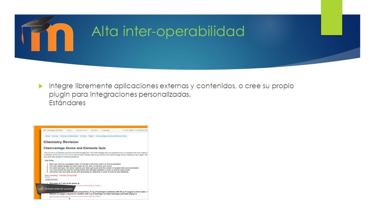 Alta inter-operabilidad Integre libremente aplicaciones externas y contenidos, o cree su propio plugin para integraciones personalizadas. Estándares
