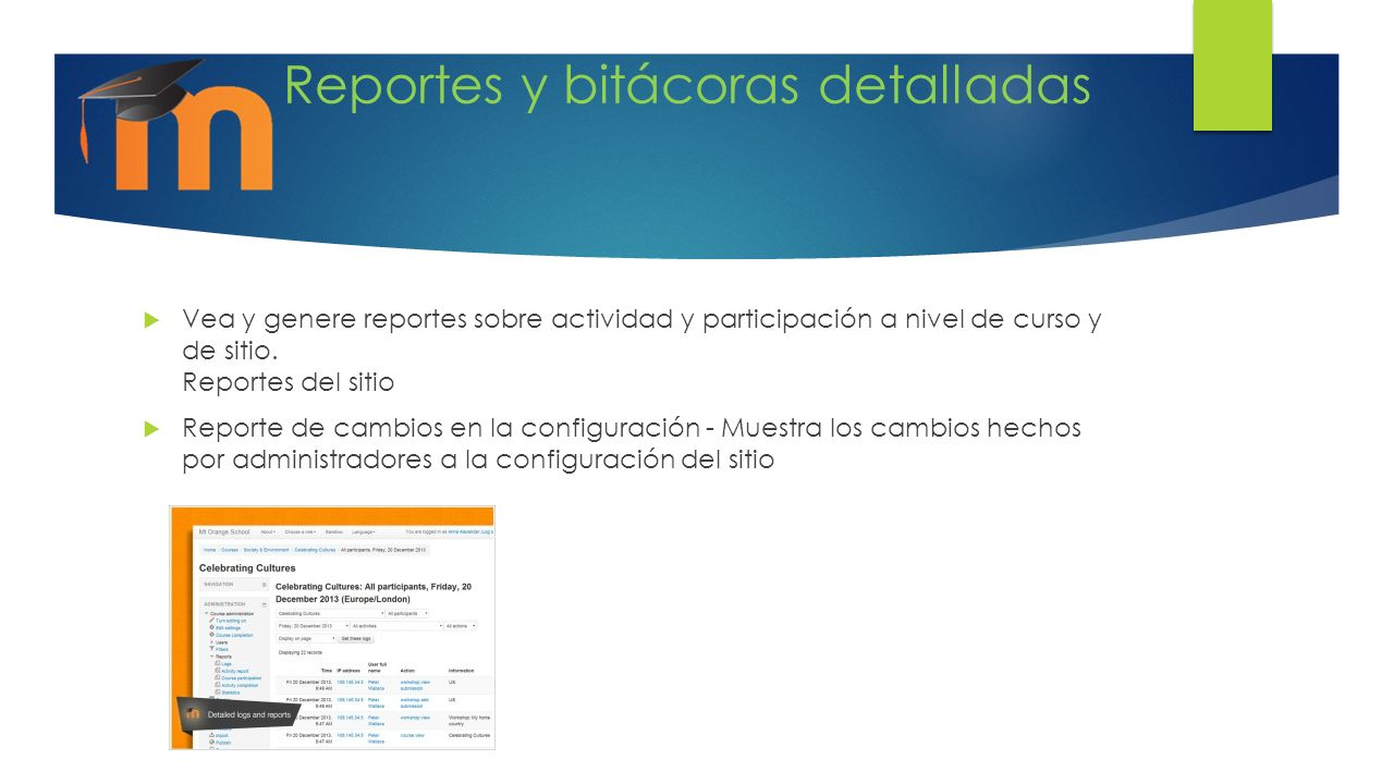 Reportes y bitácoras detalladas Vea y genere reportes sobre actividad y participación a nivel de curso y de sitio. Reportes del sitio Reporte de cambi