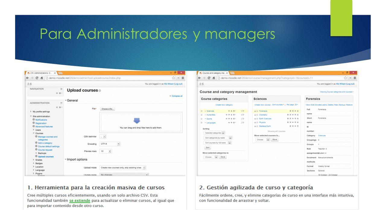 Para Administradores y managers
