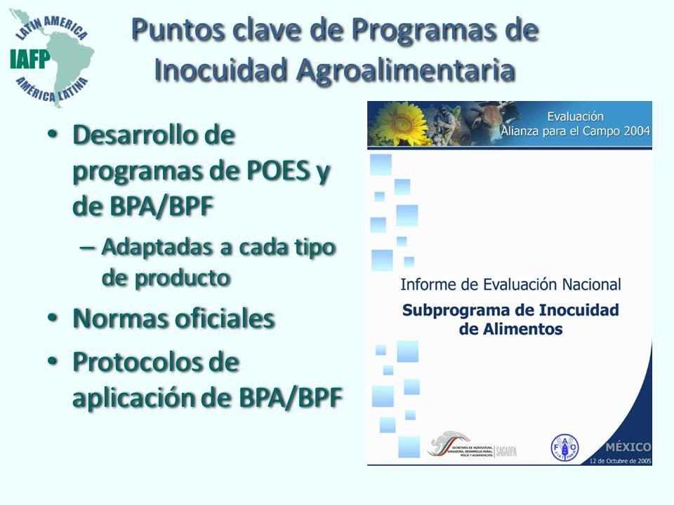 Puntos clave de Programas de Inocuidad Agroalimentaria Desarrollo de programas de POES y de BPA/BPF – Adaptadas a cada tipo de producto Normas oficial
