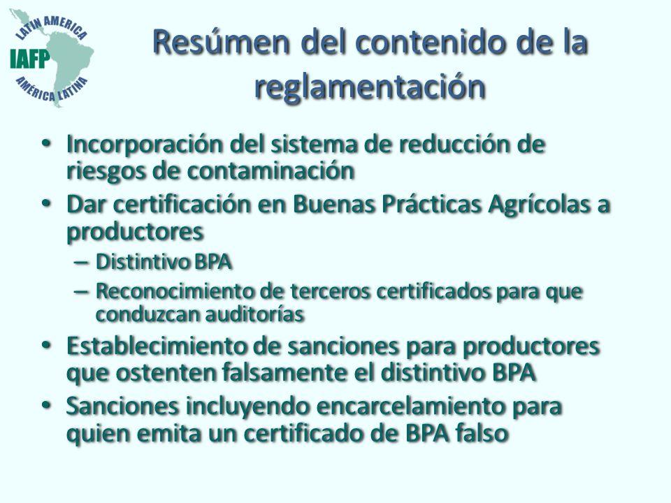 Resúmen del contenido de la reglamentación Incorporación del sistema de reducción de riesgos de contaminación Dar certificación en Buenas Prácticas Ag