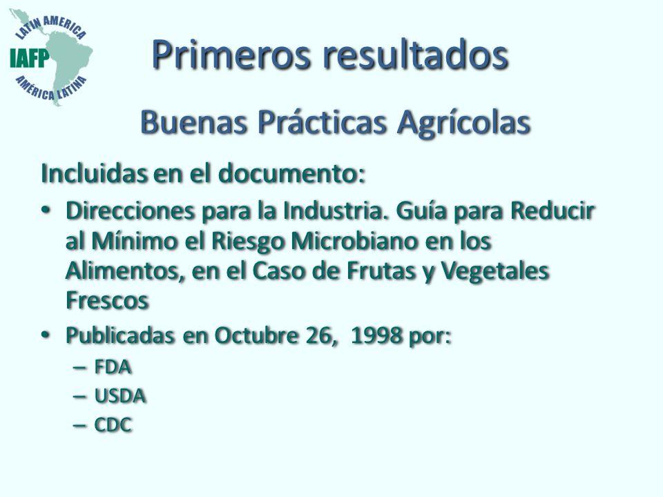 Primeros resultados Buenas Prácticas Agrícolas Incluidas en el documento: Direcciones para la Industria. Guía para Reducir al Mínimo el Riesgo Microbi