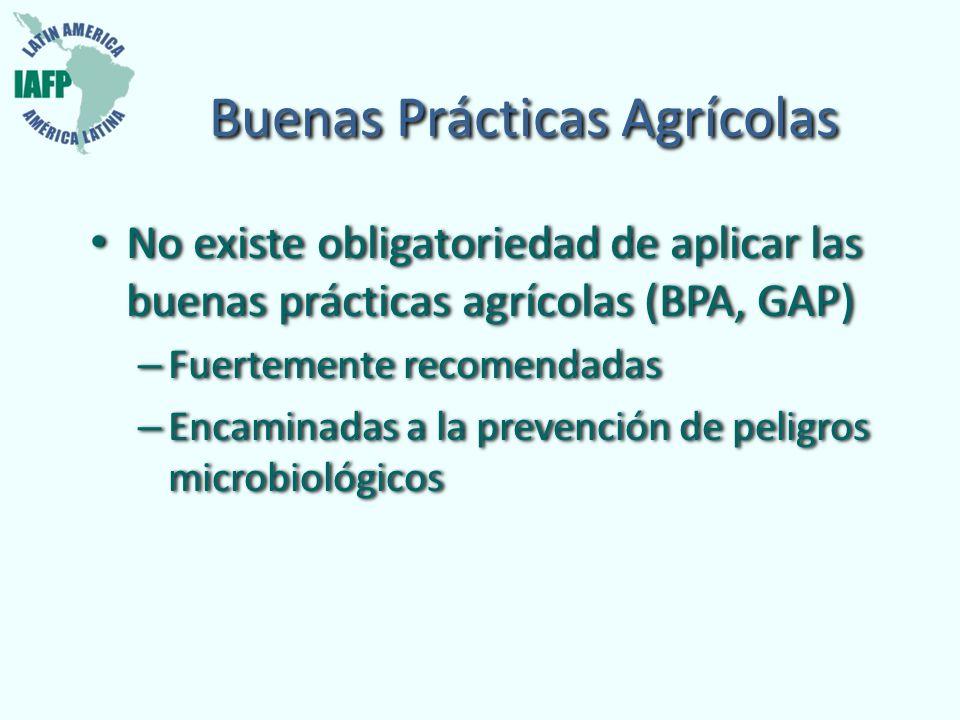 Buenas Prácticas Agrícolas No existe obligatoriedad de aplicar las buenas prácticas agrícolas (BPA, GAP) – Fuertemente recomendadas – Encaminadas a la