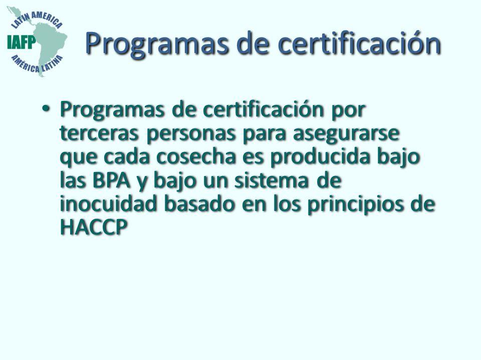 Programas de certificación Programas de certificación por terceras personas para asegurarse que cada cosecha es producida bajo las BPA y bajo un siste