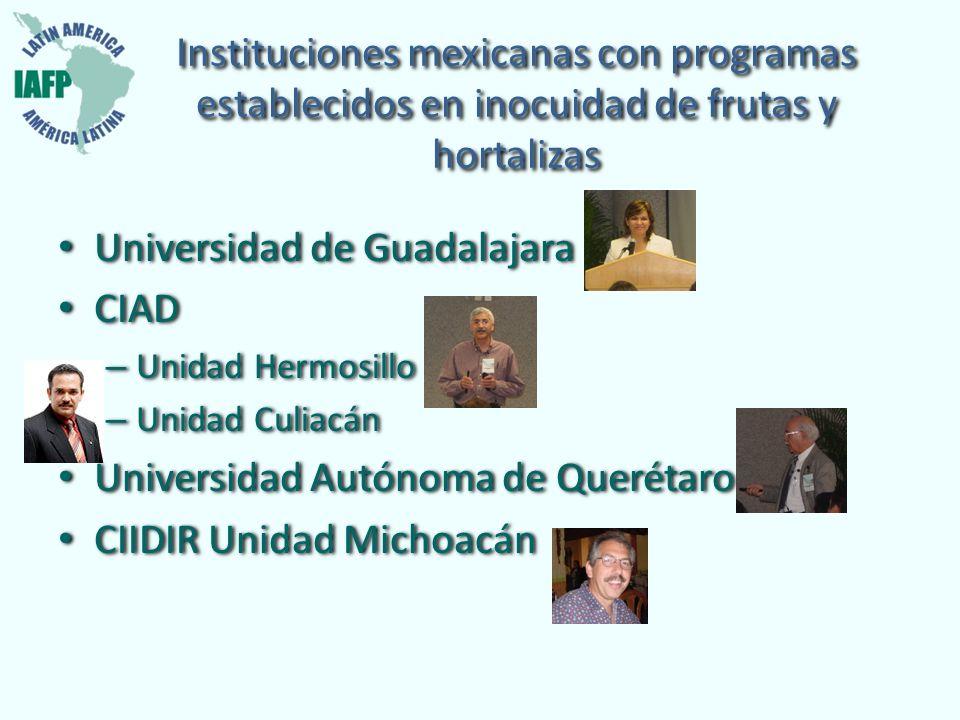 Instituciones mexicanas con programas establecidos en inocuidad de frutas y hortalizas Universidad de Guadalajara CIAD – Unidad Hermosillo – Unidad Cu